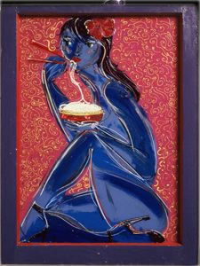Blue Nude Eating Noodles